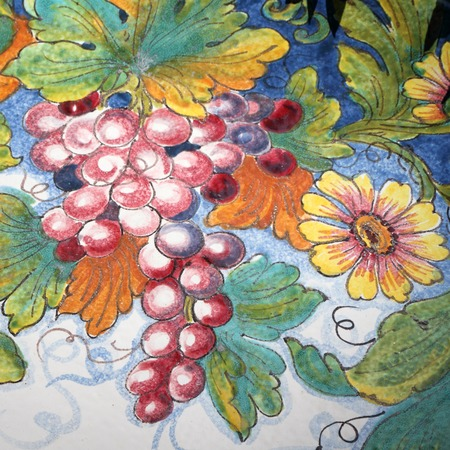 detail of traditional  colorful floral  decorative ceramic , south Italy photo