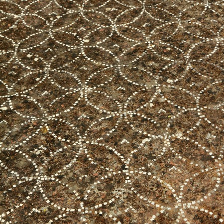 mosaic floor: detail of antique ornamental floor, Paestum   Poseidonia   temples in  Capaccio, Italy