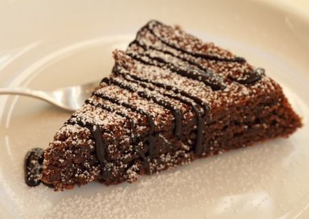 Torta Caprese   Capri cake  ,traditional chocolate and almond dessert from Capri island  版權商用圖片