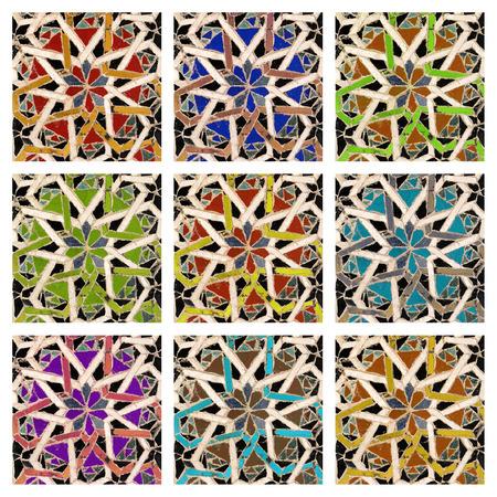 colorful antique mosaic tiles collage photo