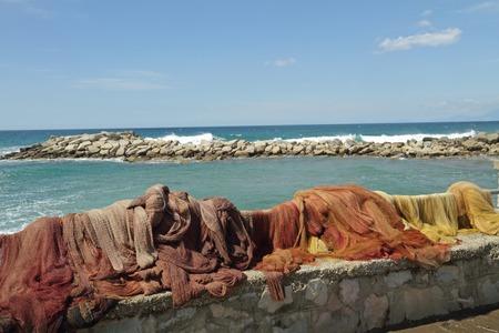 fishing nets: fishing nets on coast in Italy
