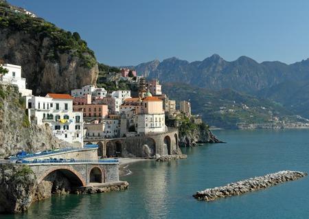 amalfi: spectacular landscape of Amalfi Coast  with Atrani village and Lattari Mountains in Campania,  Italy, Europe  Stock Photo