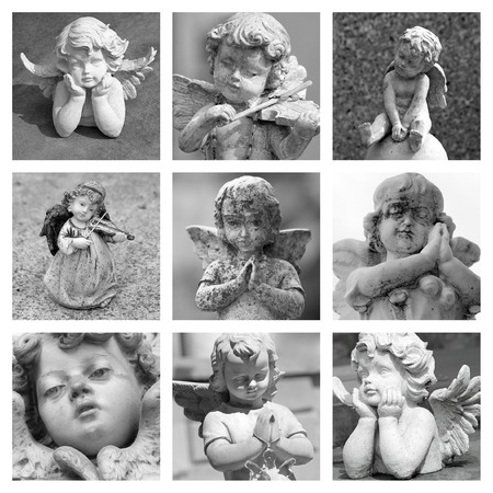 angelic figurines collage photo