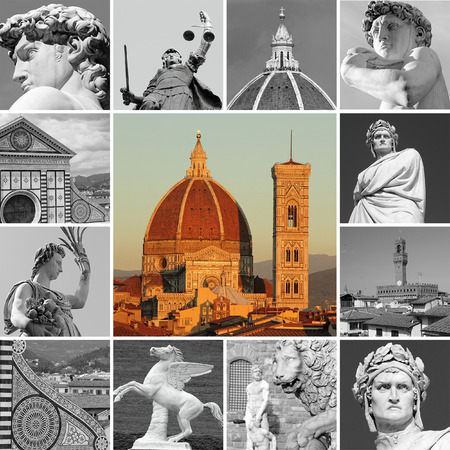duomo of florence: art of Florence - collage , Italy Stock Photo