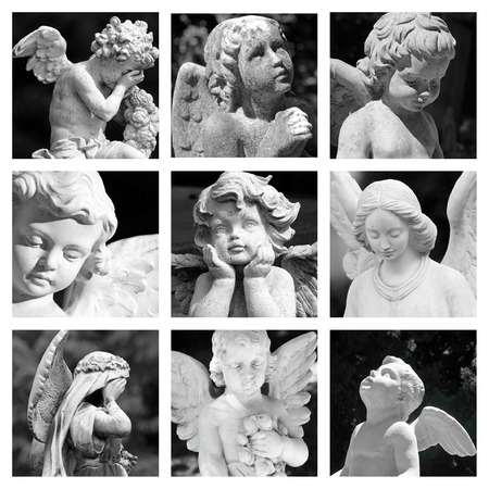 group of images with cemetery angelic figurines  photo