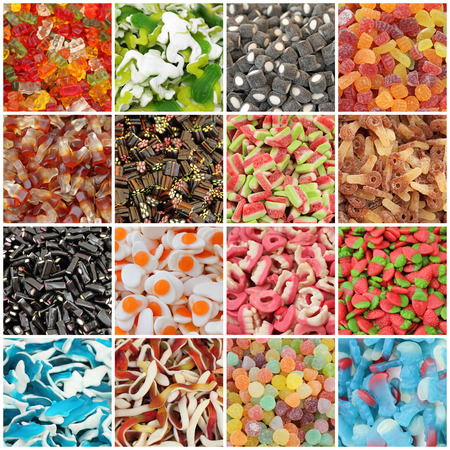 Gummy: assorted jelly candies collage