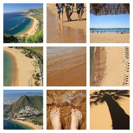 famous beach   Playa de Las Teresitas  on Tenerife island  - collage  photo