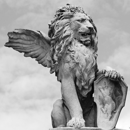 winged: venetian lion sculpture isolated on sky, Asolo, Veneto, Italy