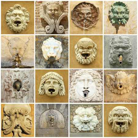 grotesque: antique fountain collage Stock Photo