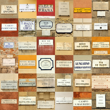 venetian: italian abstract wall made of street names signs Stock Photo