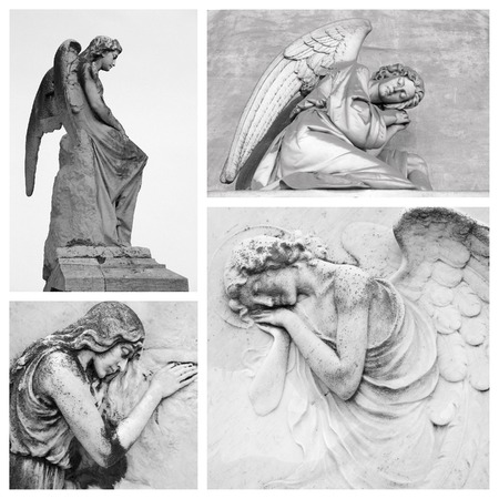 angel headstone: sympathy card with angelic figures