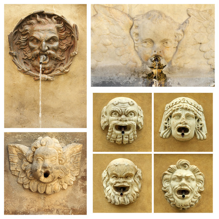 antique street drink water source collection,Tuscany, Italy, Europe  photo