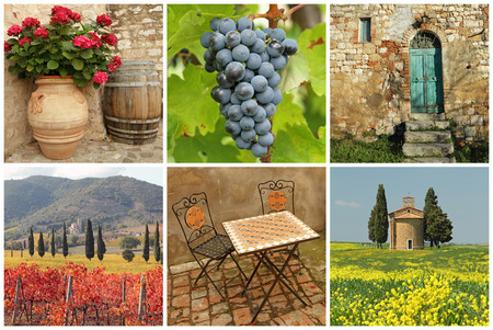 chianti: Chianti collage, collection of images from Tuscany Stock Photo