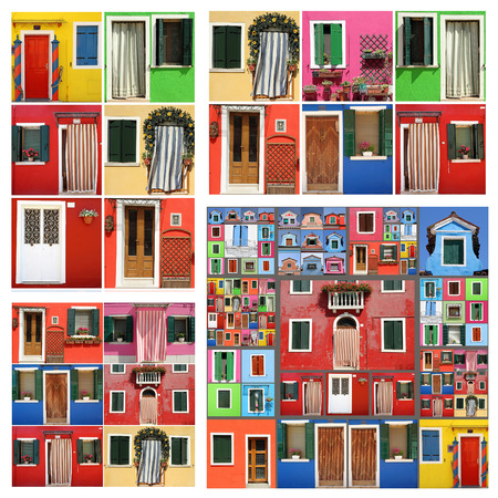 colorful abstract facade constructed of images of Burano, Venice photo