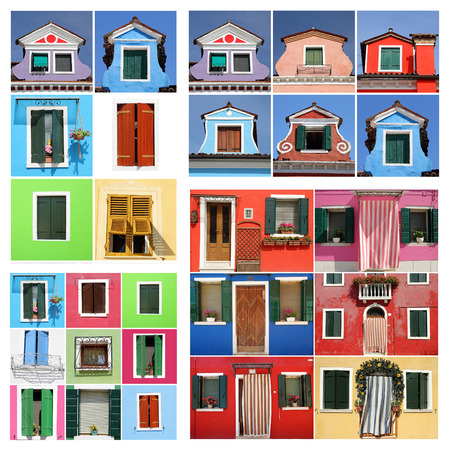 house series: colorful abstract burano house  Stock Photo