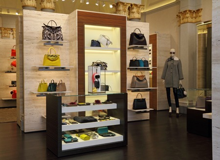 lvmh: FLORENCE,ITALY-JUN 18  FENDI boutique in Florence on famous for luxury shopping Tornabuoni street on June,18,2014  Fendi is multinational luxury goods brand owned by LVMH Moet Hennessy Louis Vuitton   Editorial