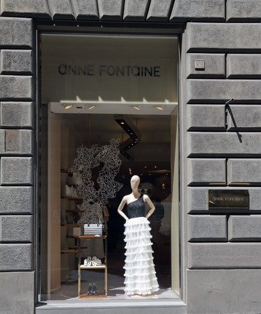 fontaine: FLORENCE - June 18  Anne Fontaine boutique in Florence on Tornabuoni street on June, 18,2014  Anne Fontaine most famous white shirts are decorated with gorgeous ruffles, collars, embroidery and cuffs