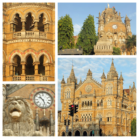 terminus: collage made of Chhatrapati Shivaji Terminus images, Mumbai , India