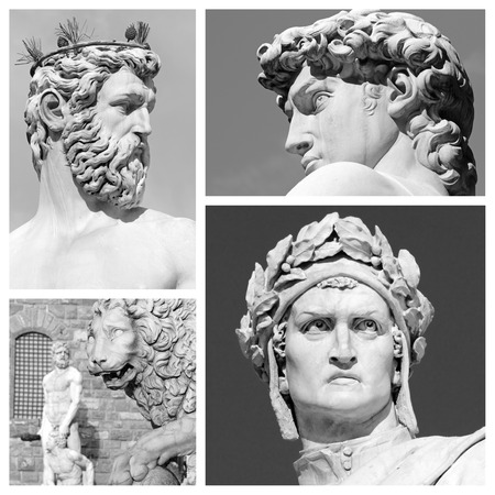 florentine sculptures collage, Italy Stock Photo