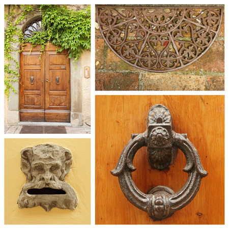 old fashion doorway details collage, Tuscany photo