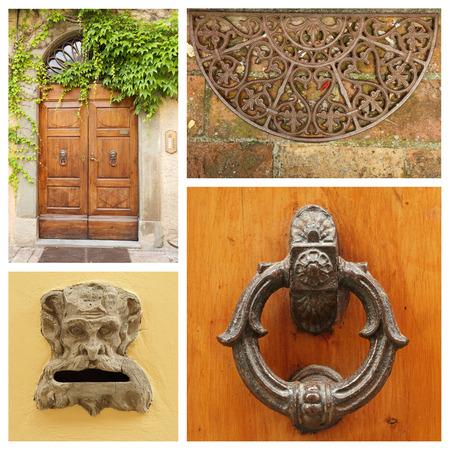 knocker: old fashion doorway details collage, Tuscany