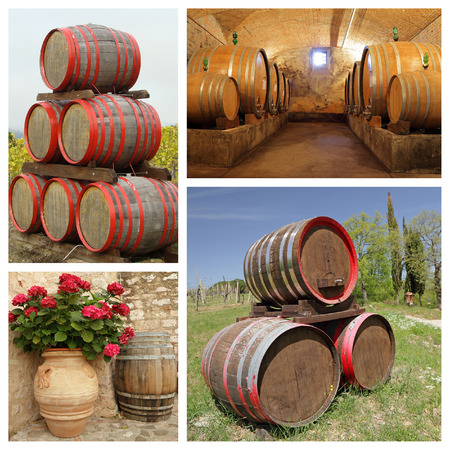 alcohol series: wine barrels collage, images from Italy