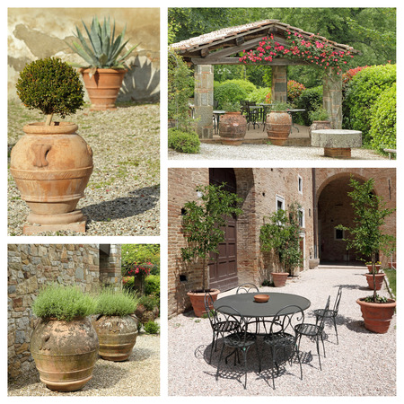 group of images from tuscan backyard, Italy, Europe photo