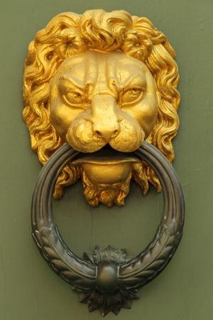 doorknocker: old fashion golden lion