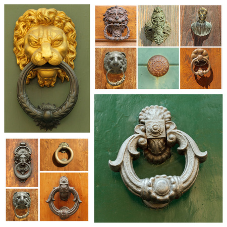 knocker: group of images with antique doorknockers, Tuscany