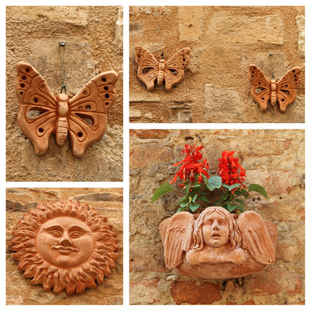 trinkets: images of group with terracotta decorative trinkets, Italy
