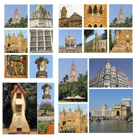 group of images from Mumbai city, India, Asia photo