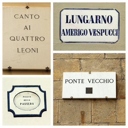 street name sign: street collage, Florence
