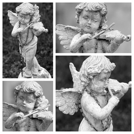 angel figurine: angel playing violin  collage - cemetery figurine Stock Photo