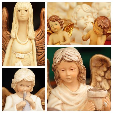 christmas angelic figurines collage photo