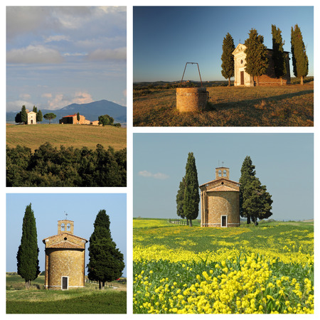 group of images with chapel of Madonna di Vitaleta in tuscan countryside between  San Quirico d photo