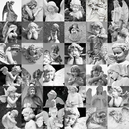 angel figurine: remembrance patter - made of many cemetery angelic statues