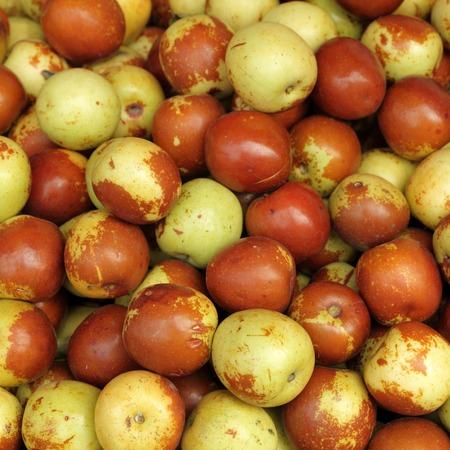 jujube fruits: jujube ( Ziziphus jujuba )  fruits as background Stock Photo