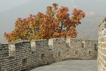 great wall: detail with battlements of Great Wall in Mutianyu near Beijing, China Stock Photo