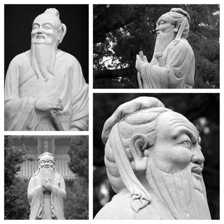 humanist: Confucius statues collage, China Stock Photo