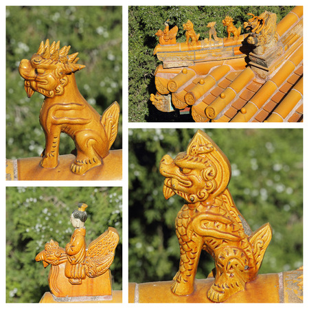 group of images with  antique roof  figures on imperial buildings Beijing, China, Asia Stock Photo