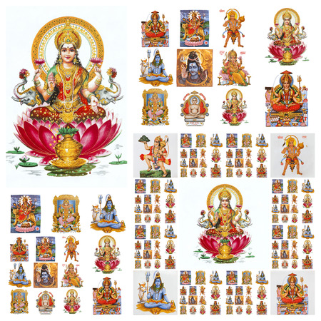hindu gods collage ( Lakshmi, Krishna,Hanuman,Shiva, etc. ) Standard-Bild