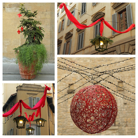 christmas time collage,Florence, Italy , Europe photo