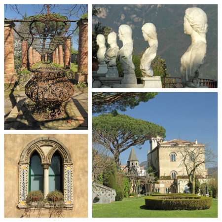 images of spectacular garden of monumental Villa Cimbrone in Ravello, Italy, Europe photo