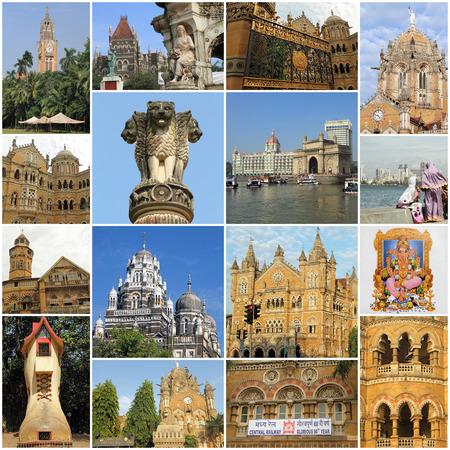 collage with famous landmarks of Mumbai city, India