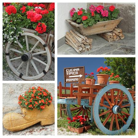 carreta madera: contenedores de flores decorativas collage, Italia