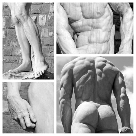fine legs: human body art collage - images of sculptures David by Michelangelo and Hercules  by Baccio Bandinelli , Florence,Tuscany,Italy,Europe
