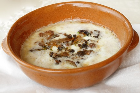 scamorza cheese: Melted scamorza cheese with mushrooms