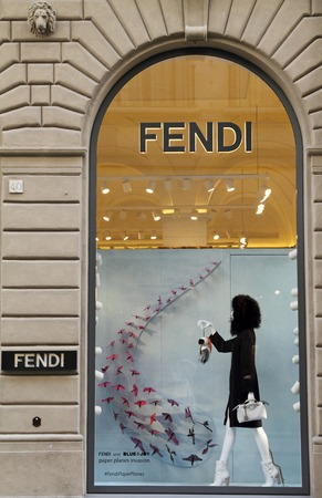 lvmh: FLORENCE, ITALY - SEP 17: FENDI boutique on famous for luxury shopping Tornabuoni street on September, 7,2014. Fendi is a multinational luxury goods brand owned by LVMH Moet Hennessy Louis Vuitton. Editorial