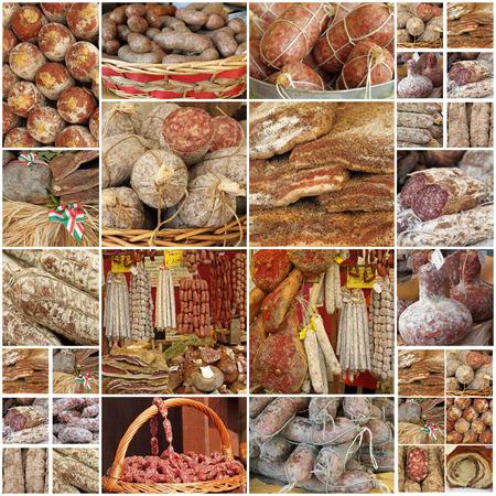 jamones: collage con italianos vituallas carne regionales, las imágenes de los mercados de agricultores en Italia