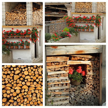woodshed: images of fire wood in alpine woodshed,Alps, Italy, Europe Stock Photo